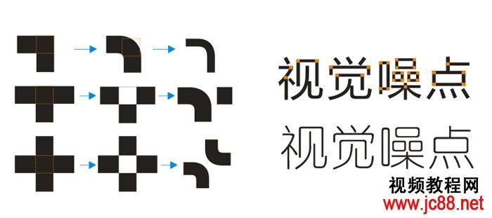 标志设计教程 八 字体的折笔圆滑处理