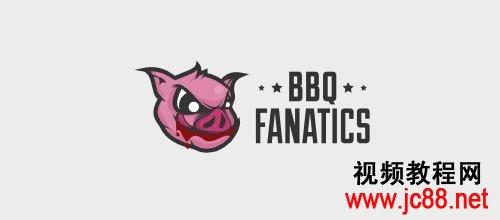 一个bbq网站logo,强啊,不是你吃猪,是这只猪吃你的感觉.